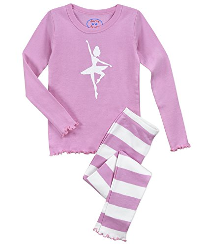 (Sara's Prints Girls' Little Sweet Ruffle Edged Snug Fit Pajama Set, Pink Ballerina 3)
