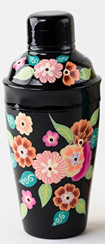 Hand Painted Floral Cocktail Shaker (Black)