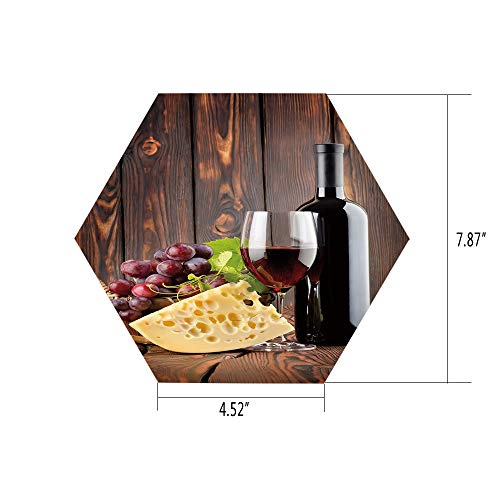 (iPrint Hexagon Wall Sticker,Mural Decal,Wine,Red Wine Cabernet Bottle and Glass Cheese and Grapes on Wood Planks Print Decorative,Brown Burgundy Cream,for Home Decor 4.52x7.87 10 Pcs/Set)