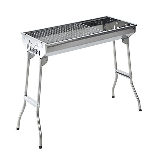 "Outsunny 35"" Stainless Steel Portable Folding Charcoal BBQ Grill"