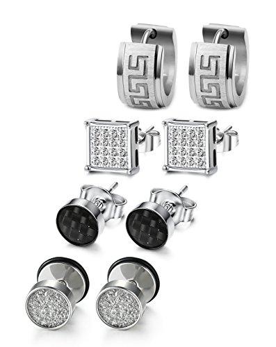 - JOERICA 4 Pairs Stainless Steel CZ Stud Earrings for Men Women Hoop Earrings Huggie Piercing (Silver-tone)