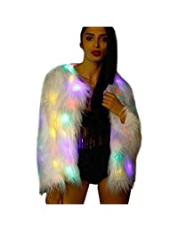 a71c8793b9a M MAYEVER Fluffy Faux Fur Coat Jacket Shiny Light Up Women Outerwear