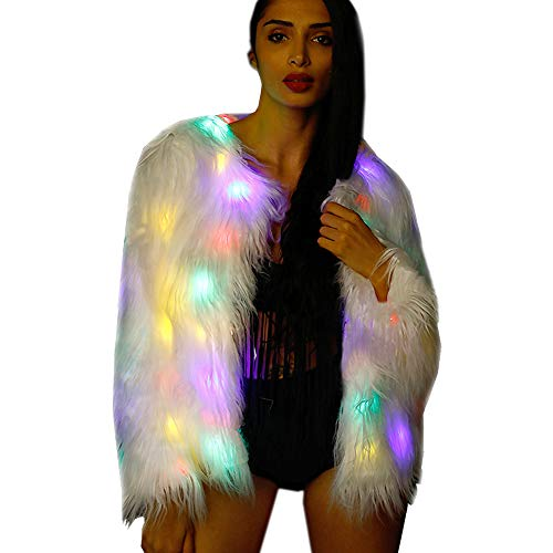 Soft Faux Fur Led Jacket Light Up Long Sleeve Bolero Tippet Halloween Xmas Party Costume (XXXL=US XXL, Long Fur Coat)