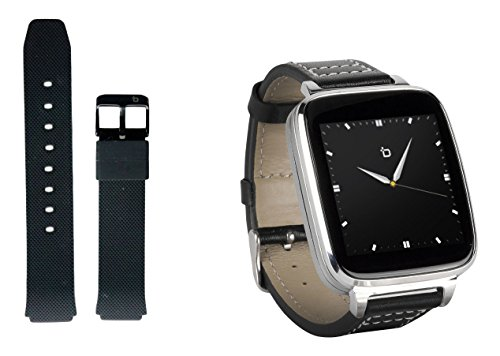 Bit Smart Watch for Apple/Android devices. Silver with leather strap. Bonus black...