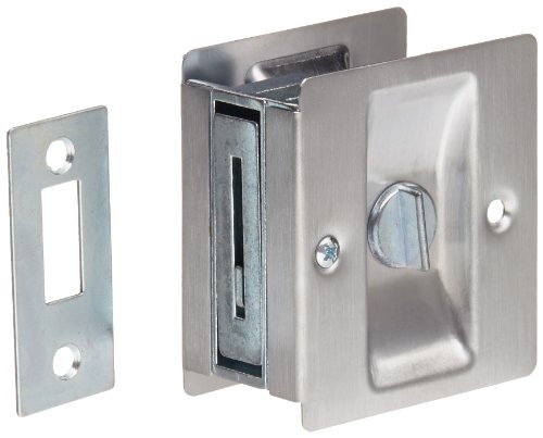 Rockwood 89126D Brass Pocket Door Privacy Latch 2-12 Width x 2-34 Height Satin Chrome Plated Finish
