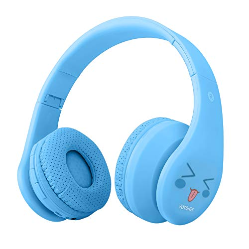 Kids Wireless Headphones,Over Ear Bluetooth Headphones 85dB Volume Limiting,Foldable Headset with Microphone 3.5mm Jack SD Card for Boys Girls Adults,Bluetooth Devices for Smartphone PC Tablet(Blue) by Votones