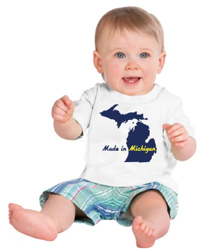 MADE IN MICHIGAN Short Sleeve Baby T-shirt / Cute, Funny Infant Newborn MI Humor