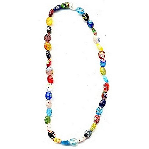 - Joe Cool Necklace Flat Oval 8mm Made With Glass & Millefiori Glass by