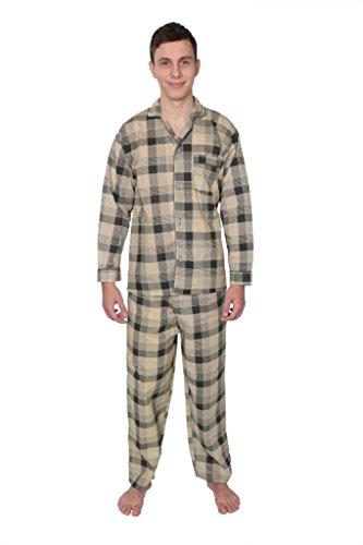 James Fiallo Mens Patterned Woven Pajamas Long Sleeve Long Pants, PJ04, BGE-PLD, S