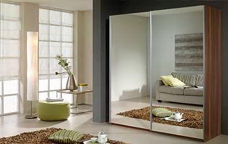 Armario de puertas correderas de 2 cuerpos en nogal decorativo de con 2 puertas con espejo, medidas: B/H/T/aprox. 197/181/67 cm: Amazon.es: Hogar