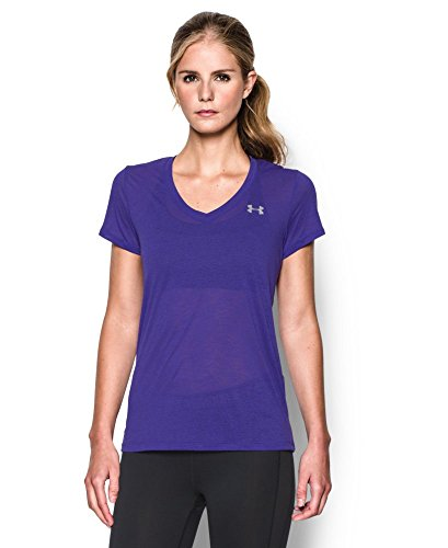 Under Armour Women's UA Tech Slub V-Neck Large DEEP ORCHID (Good Tech Tee Womens)