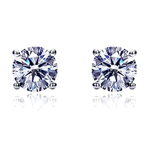 (14K Gold or White Gold Round Cubic Zirconia Basket Setting CZ Solitaire Stud Earrings (size 2mm - 8mm))