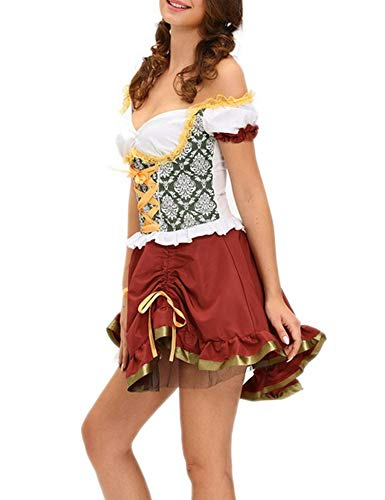 Cosplay Halloween French Maid Mini for Shamrock Sweetie Beer Garden Girl Costume 8999,Multi,One Size -