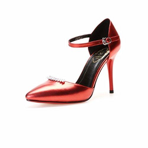 Kvindelige Høje Rhinstene Blå Rød Anchengkao Størrelse Hule 38 farve Hæle Spænde Sandaler Eu HfTqwXST