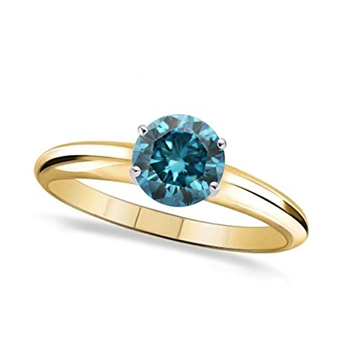 Solitaire 0.50Ct Real Round Cut Blue Color Diamond Prong-Set Wedding Ring in 14k Gold (Cut Round Si3 Diamond Solitaire)