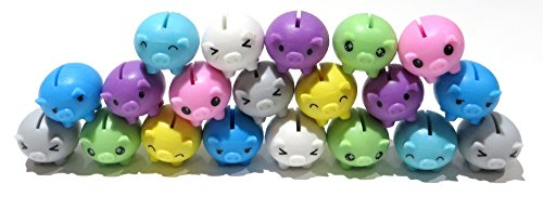 Rubber Mini Favor - Edison Novelty Mini Rubber Pigs Assorted Colors (20)
