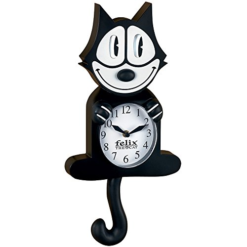 Authentic Cartoon Collectible Felix The Cat Wall Clock w Moving Eyes Tail
