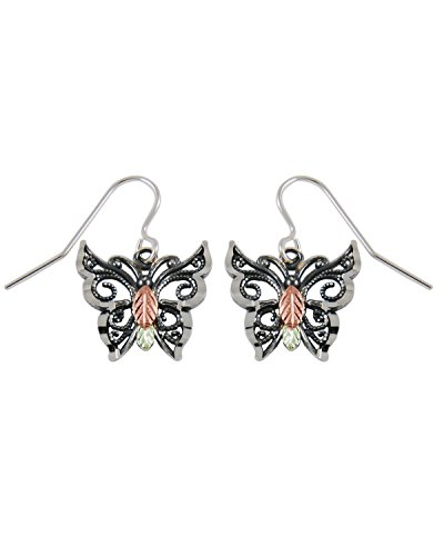 Oxidized Butterfly Earrings, Sterling Silver, 12k Green and Rose Gold Black Hills Gold Motif by The Men's Jewelry Store (for HER)