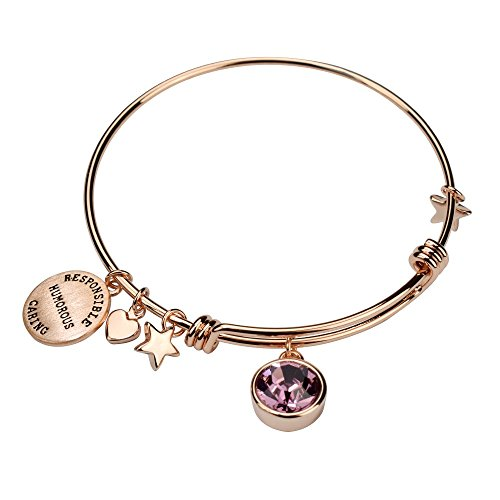 - Miraclelove Rose Gold Birthstone Crystal Personalities Engraved Charm Expandable Bangle Bracelet, 7.8