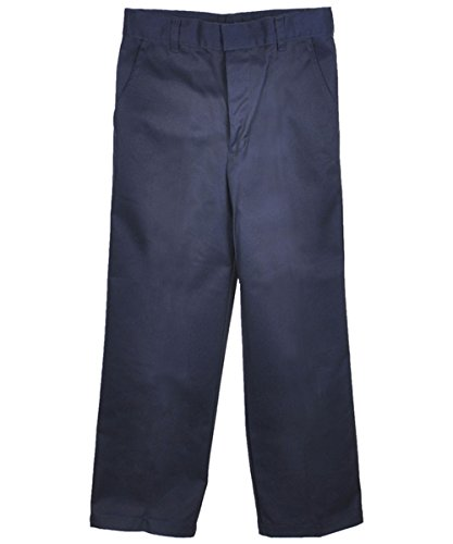French Toast Big Boys' Flat Front Wrinkle No More Double Knee Pants - navy, 20 by French Toast (Image #3)