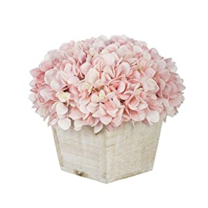 House of Silk Flowers Artificial Hydrangea in White-Washed Wood Cube 57
