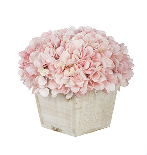 House of Silk Flowers Artificial Hydrangea in White-Washed Wood Cube (Baby Pink)