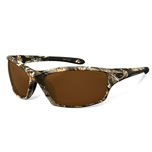 HAKA Sports Style Polarized Sunglasses for Driving Fishing Golf Running Baseball Cycling Glasses (Camouflage, Brown)
