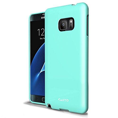 Galaxy S7 Edge Caso, Cellto [Cano Monedero] [Delgado] resistente a arañazos de la piel del gel de goma de silicona suave cubierta de la caja protectora para el Samsung Galaxy S7 Edge - (Brown) Mint