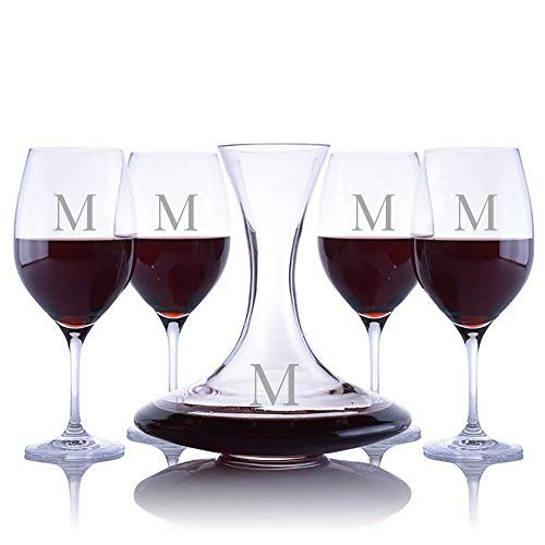 - Personalized Ravenscroft Lead-free Crystal Infinity Decanter & 4 Stemmed Vintner's Choice Bordeaux/Merlot/Cabernet Red Wine Glasses Engraved & Monogrammed - Great Gift for Father's Day