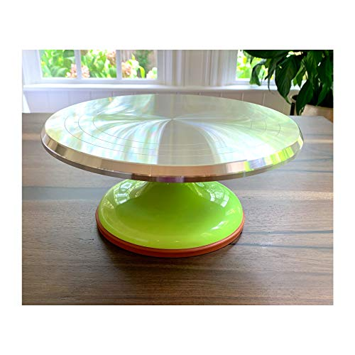 "12"" Revolving Cake Decorating - Cake Turntable Stand - Cake Baking Supplies. Aluminum Alloy. (Green)"