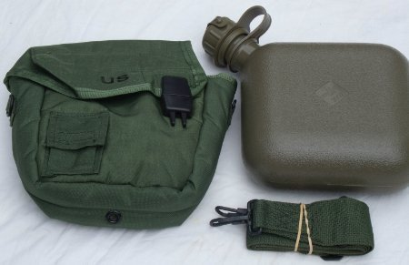 (OD Green Military Issue 2 Quart Water Canteen with New issue Carrier and sling free ship)