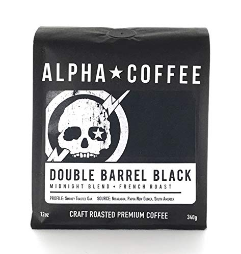 Alpha Coffee, French Roast Coffee, Whole Bean Dark Roast, 12 ounces, Double Barrel Black Midnight Blend, Bold, 100% Arabica Coffee from Nicaragua, Papua New Guinea and South America ()
