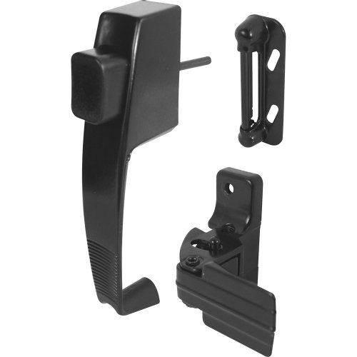 - Prime-Line, K 5071 Push Button Latch w/ Tie Down, Single Unit, Black - Designed to Accommodate Multiple Surfaces, Complete with Night Lock, Contemporary Design