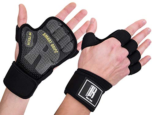 Weight Lifting Gloves for Women & Men - Barehand Gloves with Neoprene Wrist Wraps -Workout Gloves with Anti-Slip Rubber Palm -Gym Gloves for Lifting, Rowing & Cross Training Fitness (Black/Yellow, M)