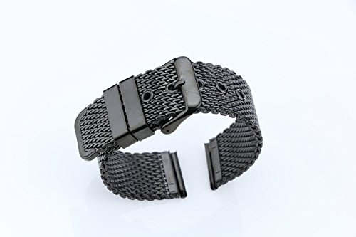 20mm Luxury Black Milanese Loop Bracelets Polished Mesh Steel Watch Band Solid 316L Stainless Steel by autulet (Image #1)
