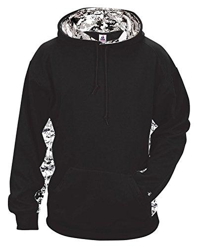 (Badger BG1464 Men's Digital Color Block Hooded Fleece Black/White Digital 3XL )