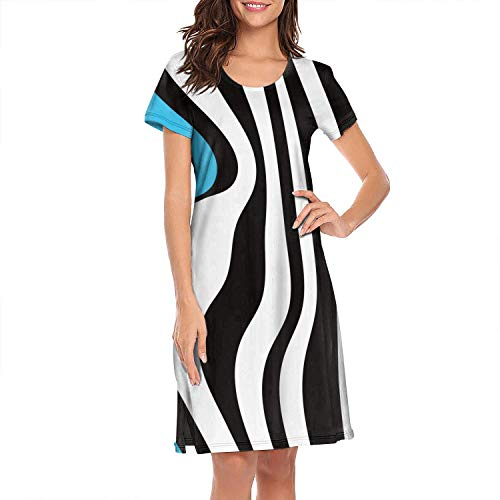 (XUWU Nightshirts for Women Rainbows Zebras Stripes Nightgown Short Sleeves Sleepwear)