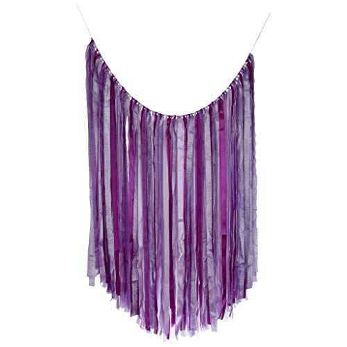 (BROSCO Wedding Party Satin Tassel Bunting Banner Ribbon Garland Party Photo Prop | Color - Purple)
