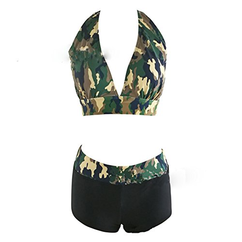 Riversong Womens Camouflage Two Piece Bathing Suit Bikini Set Sexy Halter neck Push Up Swimsuit (Tag L(US 4-6), Multicolor) ()