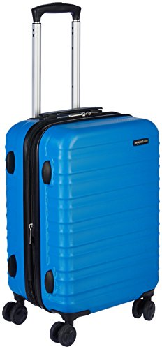 (AmazonBasics Hardside Carry On Spinner Travel Luggage Suitcase - 20 Inch, Blue)