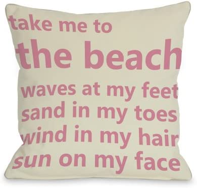 One Bella Casa Take Me to the Beach Throw Pillow by OBC, 26 x 26 , Ivory Pink