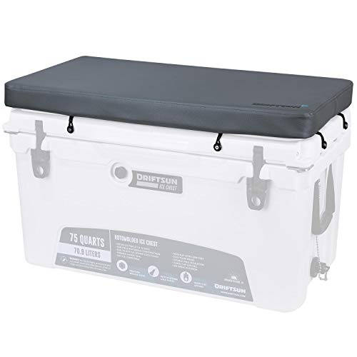 Driftsun Premium Ice Chest Cushion with Comfort Foam Interior and Marine Grade UV Resistant Vinyl Cover, Cooler Seat Cushion with Mounting Hardware, Fits 70-Quart and 75-Quart Ice ()