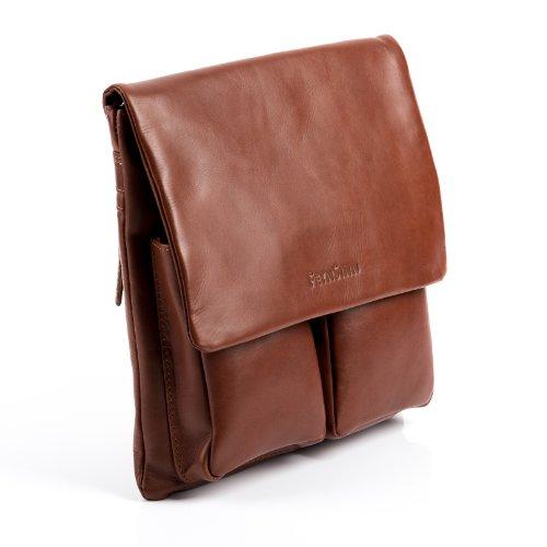 shoulder bag leather men leather cross shoulder strap bag unisex bag body NIA FEYNSINN women cognac real black Tan XzZqwxSX
