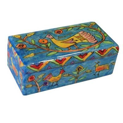 Hand Painted Wooden Box | Travel Shabbat Festivals Yom Tov Candlestick In Box Peacock Birds Floral Design - Yair Emanuel (TL-3)