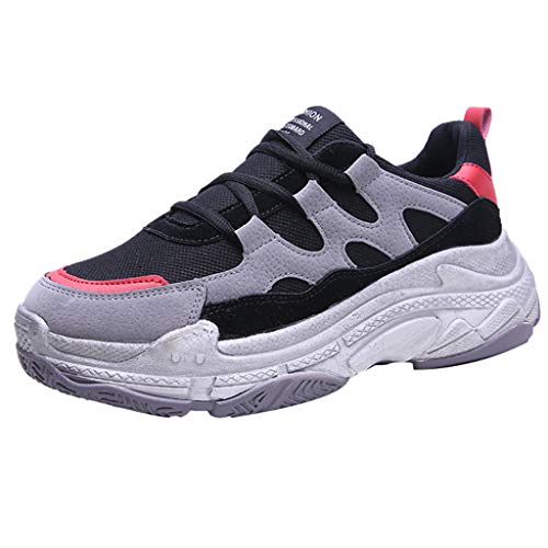 CCFAMILY Women's Fashion Mesh Casual Shoes Ladies Low-Top Student Shoes Breathable Running Sneakers Red