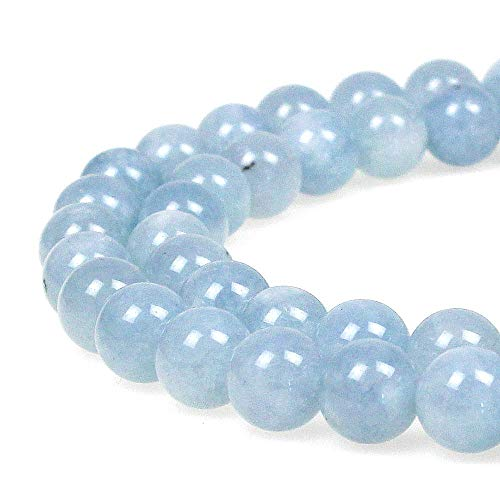 - JarTc Natural Round Aquamarine Gemstone Spacer Loose Beads Spacer Beads for DIY Jewelry Making Strand 15