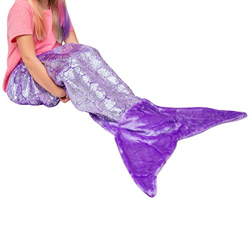 PixieCrush Mermaid Tail Blanket for Teenagers/Adults & Kids Thick, Plush Super Comfy Fleece Snuggle Blanket with Double Stitching, Keep Feet Warm (Small, Shiny Purple)