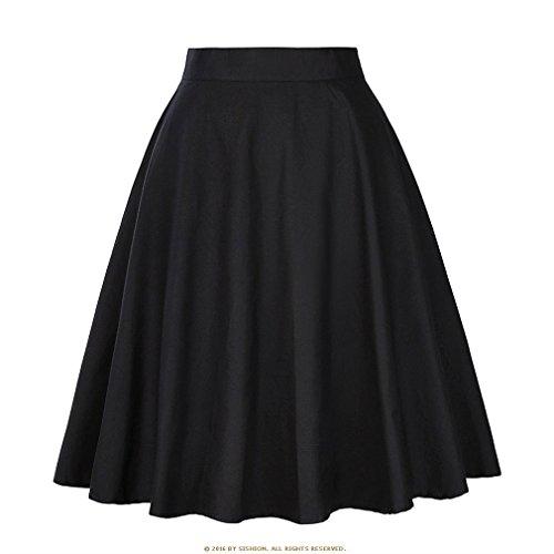 t Jupe Noire Femmes Taille Haute, Plus la Taille imprim Floral  Pois Femmes Jupes d't Skater 50 s Vintage Midi Jupe Black