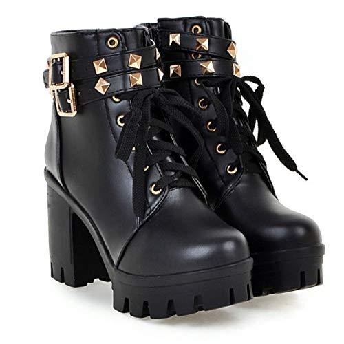 Block Scarpe Chunky Up Stivali Heel Donna Casual Qscg Lace Da Black  Stivaletti Zipper STBxI db008c17524