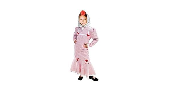Disfraz Chulapa niña Blanco Lunar Rojo (4 años): Amazon.es ...